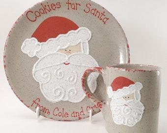 Santa Cookies for Santa Plate AND Mug, Personalized Santa Snack Set, Christmas Eve Gift Set, Santa Treats and Cup Set, Santa Snack Set