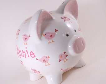 Pink Bird Piggy Bank, Personalized Piggy Bank, Pink Tweety Bank, Bird Lover Piggy Bank, Nature Theme Decor Bank, with hole or NO hole