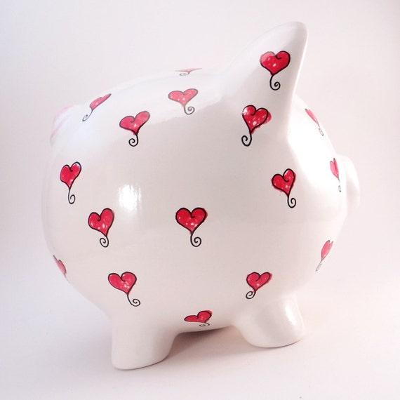 Herzen Sparschwein personalisierte Sparschwein Rot Herz  6495000a30ca