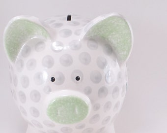 Golf Ball Personalized Piggy Bank, Piggy Bank, Golfing Ceramic Bank, Sports Theme, Tee Time Bank for Dad, with hole or NO hole in bottom