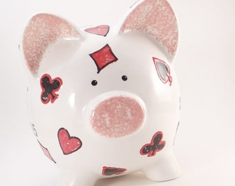 Poker Piggy Bank, Personalized Piggy Bank, Texas Hold 'Em Bank, Playing Cards Piggy Bank, Las Vegas Bank, with hole or NO HOLE in bottom