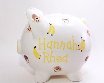 Monkey Piggy Bank, Personalized Piggy Bank, Ceramic Piggy Bank with Monkey, Jungle Bank, Safari Theme, Zoo Animal Bank, with hole or NO hole