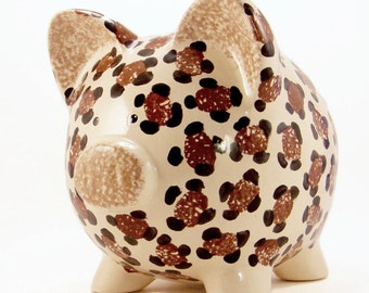 Leopard Personalized Piggy Bank, Zoo Animal Piggy Bank, Cheetah Piggy Bank, Jungle Theme Bank, Safari Theme, Baby Gift, with hole or NO hole