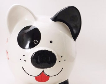 Black & White Puppy Dog Bank - Personalized Piggy Bank - Spot the Dog Bank - Puppy Piggy Bank - Pet Lovers Gift - with hole or NO hole