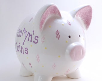 Money Personalized Piggy Bank, Loose Change Piggy Bank, Dollars & Cents Bank, Dollar Sign Bank, Cash Theme Bank, with hole or NO hole
