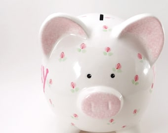 Rosebuds Piggy Bank, Personalized Rosebud Bank, Ceramic Piggy Bank with Flowers, Flower Girl Piggy Bank, Rose Bank, with hole or NO hole