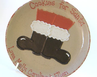 Santa Boots Cookies for Santa Plate & MUG - Personalized Christmas Cookie Plate - Santa Boots Treats Plate - Christmas Eve Gift Set