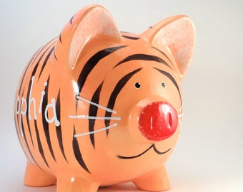 Tiger Personalized Piggy Bank, Tiger Bank, Jungle Piggy Bank, Baby Shower Gift, Safari Theme Nursery Decor, Zoo Animal, with hole or NO hole
