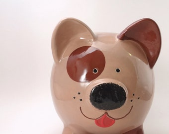 Brown Dog Personalized Piggy Bank, Puppy Dog Bank, Animal Piggy Bank, Kids Gift, Puppy Piggy Bank, Pet Savings Bank, with hole or NO hole