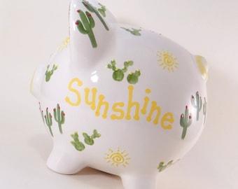 Cactus Piggy Bank, Personalized Piggy Bank, Southwestern Savings Bank, Succulent Piggy Bank, Cacti Garden Theme Bank, Southwest Decor