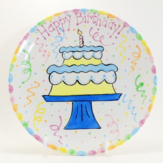 12 Inch Birthday Cake Plate Personalized Happy
