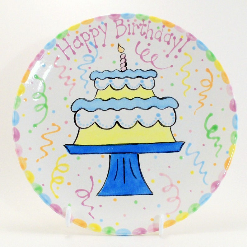 12 inch Birthday Cake Plate Personalized Happy Birthday | Etsy
