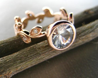 14k rose gold Engagement ring with leaves and diamonds. Unique leaf engagement ring. White sapphire leaf engagement ring. Vine ring.