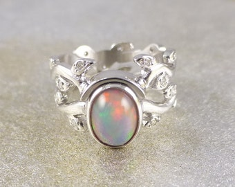 opal wedding ring sets etsy your place to buy and sell all things handmade 6258