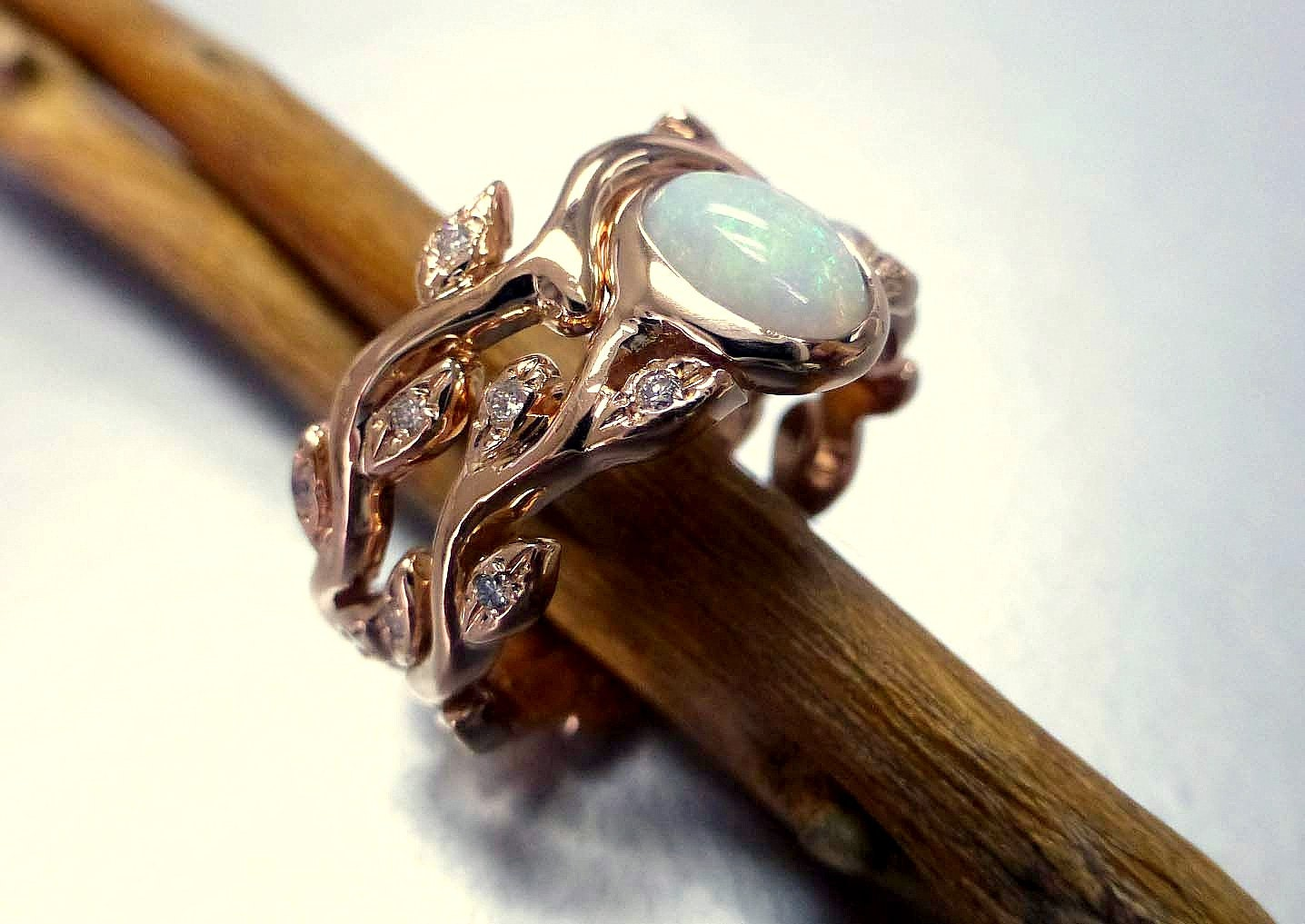 Engagement Ring With Opal And Diamonds Opal Ring Set Leaf Etsy