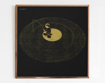"Screen print ""Black Gold"" Vinyl Records, Wall decor, Retro Illustration 12 inch, Musician and DJ, elegant and unique"