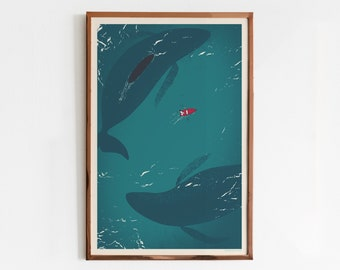 Hero Whales Screen Print / Whales Art Print / Limited Edition Poster
