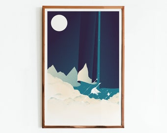 """Limited Edition Poster """"The Road Is Long"""" Swans Art Print, Silk screen print"""