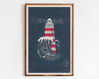Andromeda Screen Print / Lighthouse Art Print / Limited Edition Poster, Stars and Ocean Night