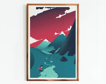Can You Hear Me pt.2 Screen Print / Bike and Mountains Art Print / Limited Edition Poster