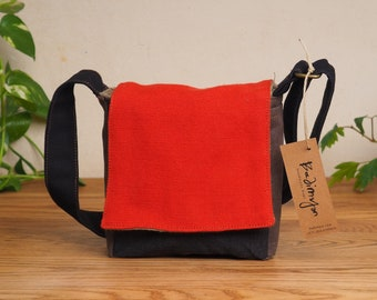 bc610c41560c85 Canvas Cross Body Bag, Red Black Men's Purse, Vegan Shoulder Bags, Messenger  Bags For Men, Small Canvas Bag