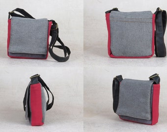 b224e3ea4e99b1 Gray Messenger Bag, Small Shoulder Bag, Vegan Crossbody Bags, Unique Canvas  Bags, Gifts For Him, Canvas Cross Body Bag, Work Messenger Bags