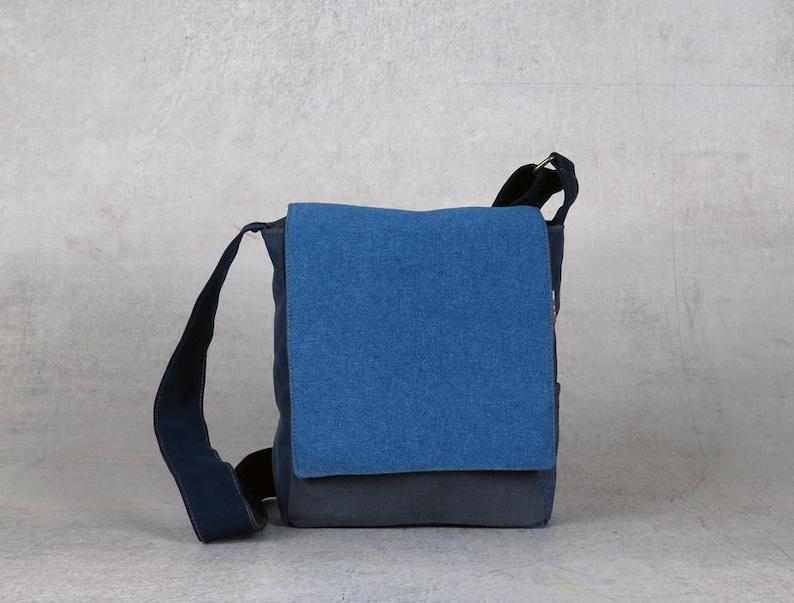 9931849f23c7 Blue Crossbody Bag, Small Messenger Bags, Canvas Bag For Men, Vegan  Designer Bags, Side Purse Vegan, Small Canvas Purse, Unisex Shoulder Bag