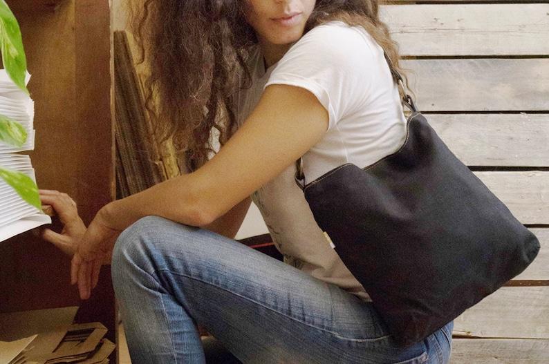 black canvas purse vegan shoulder purse small purse vegan image 0