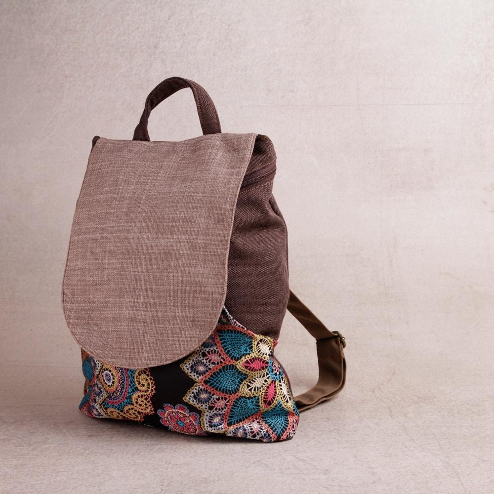 Pattern Backpack Canvas Women Vegan