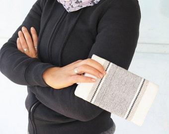 gray and white wallet, canvas wallet, vegan wallet, wallets for women, slim wallet, thin wallet, cute wallets by Badimyon