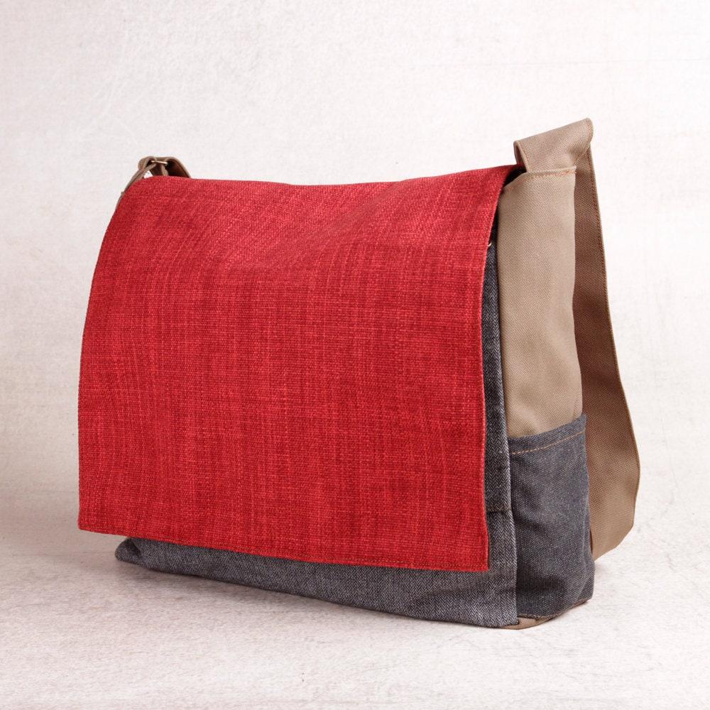 f85489050d05 Red Canvas Shoulder Bag Vegan Messenger Bag Students
