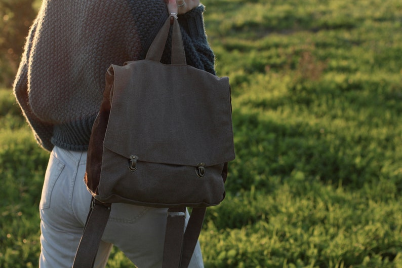 Brown Canvas Backpack Student School Backpack Durable Satchel Backpack Minimalist Backpack Purse Vegan Fabric Rucksack