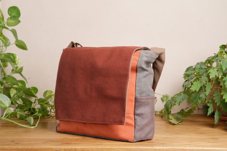 9813734e86fad6 Large Red Brown Canvas Laptop Shoulder Bag Vegan Unisex   Etsy