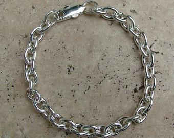 Cable link sterling silver bracelet - perfect for charm bracelets