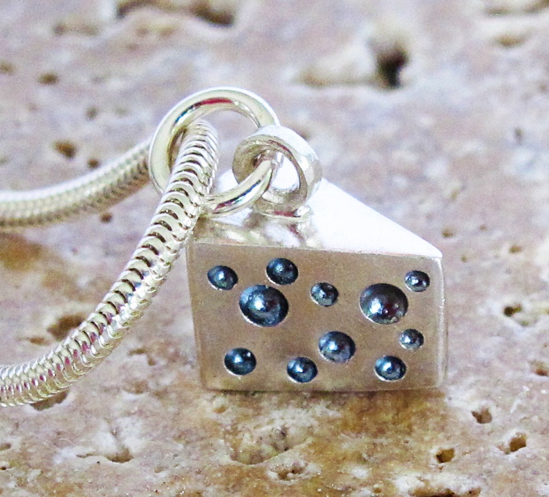 Sterling silver cheese wedge charm image 0