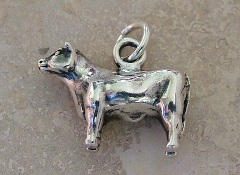 Sterling silver show steer charm image 0