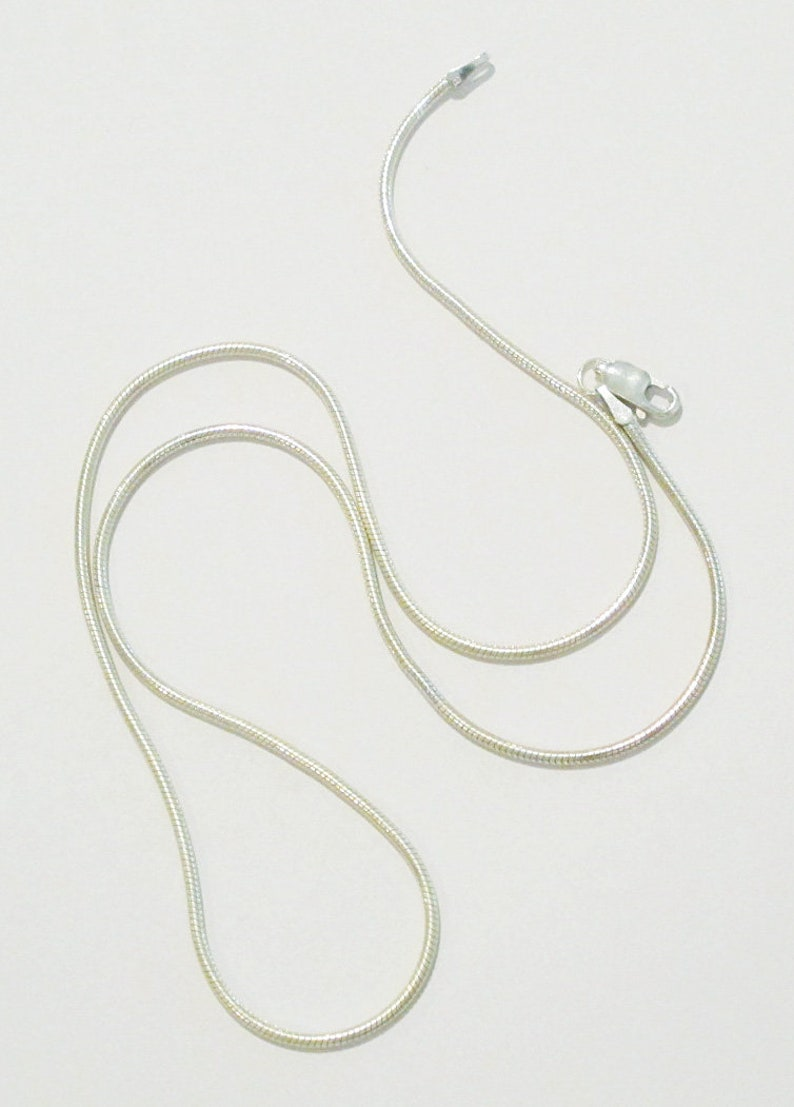 Seamed sterling silver snake chain necklace image 0