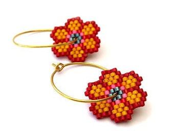 Earrings - Wow Orange - Red, Orange, Teal, Pink, Black and Gold