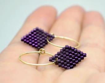 Earrings - Diamond Drops - Plum Purple and Metallic Purple, Gold plated Sterling Silver hoops