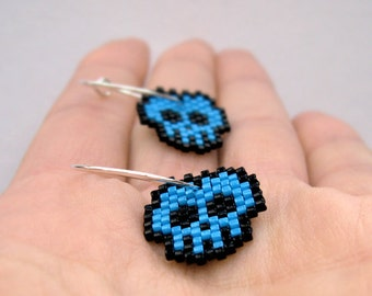 Earrings - Bright Blue Skulls - Bright Blue, Black and Sterling silver hoops