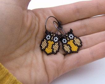 Earrings - Bright Golden Owls