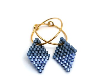 Earrings - Diamond Drops - Blue and Gold