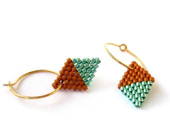 Earrings - Diamond Drops - Galvanized Teal and Matte Bark Brown