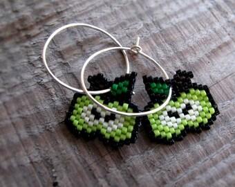 Earrings - Spring Green Apples - Light Green, Kelly Green, Eggshell, Dark Brown, Black and Silver
