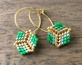 Earrings - Rosalina Green - Kelly Green, Galvanized Green Mint and Galvanized Gold