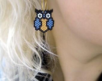 Earrings - Denim Owls - Denim Blue, Black and Gold