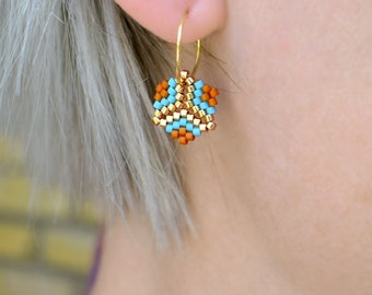 Earrings - Rosalina Indie - Matte Light Blue, Matte Bark Browne and Galvanized Gold