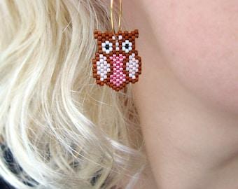 Earrings - Pinky Owls - Metallic Pink, Light Lavender and Cognac Brown - 24k gold plated hoops