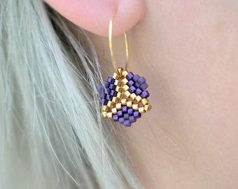 Earrings - Rosalina Plum - Plum Purple, Metallic Purple and Galvanized Gold