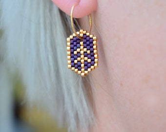 Earrings - Leaf - Gold and Purple